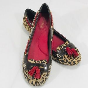 Sperry Top Siders Animal Print & Red Leather Flats
